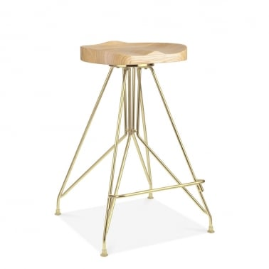 Moda Metal Bar Stool CD1, Solid Ash Wood Seat, Gold 66cm