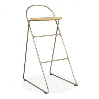 Crane Metal Bar Stool with Solid Oak Wood Seat, Brass 75cm