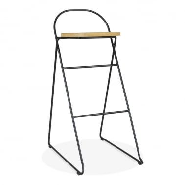 Crane Metal Bar Stool with Solid Oak Wood Seat, Black 75cm