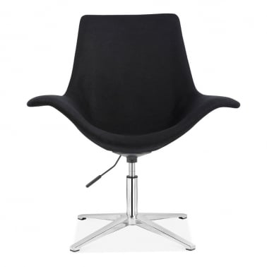 Manta Swivel Lounge Armchair, Fabric Upholstered, Black