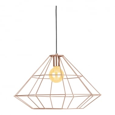 Geometric Metal Cage Pendant Light, Copper