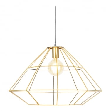 Geometric Metal Cage Pendant Light, Brushed Brass