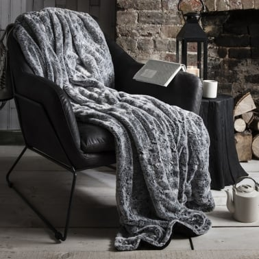 Minky Luxurious Faux Fur Throw, Grey