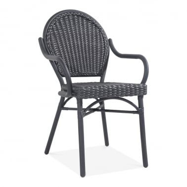 Seymour Outdoor Dining Armchair, Black Rattan