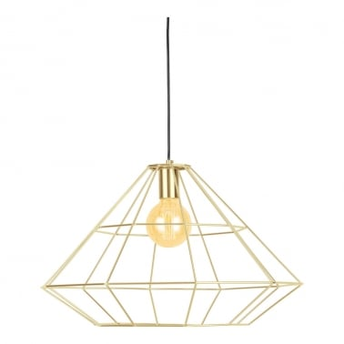 Geometric Metal Cage Pendant Light, Gold
