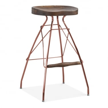 Atlas Metal Bar Stool, Solid Elm Wood, Copper 76cm