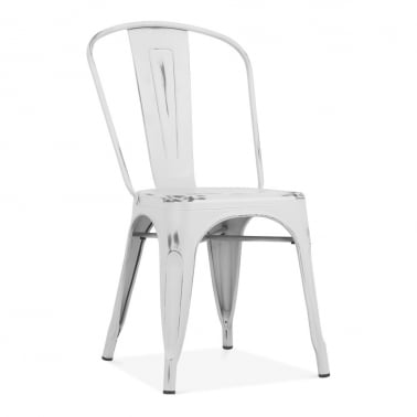 Tolix Style Metal Side Chair, Vintage White