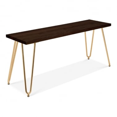 Hairpin Metal Bench, Solid Elm Wood, Brass 100cm