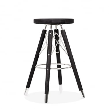 Moda Bar Stool CD3, Solid Wood, Black 65cm