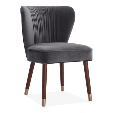 Noa Accent Chair, Velvet Upholstered, Charcoal Grey