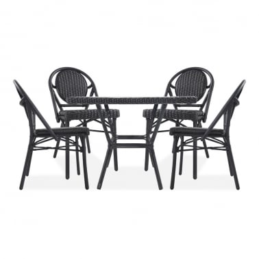 Albion 5 Piece Outdoor Dining Set, Black Rattan