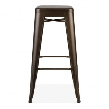 Tolix Style Metal Bar Stool, Brown 75cm