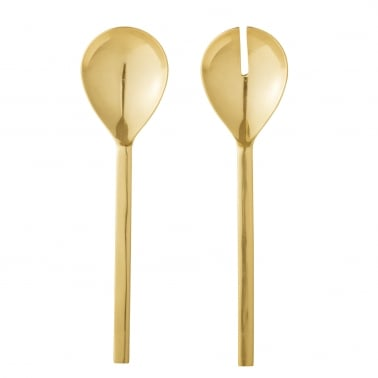 Metal Salad Servers Set of 2, Gold