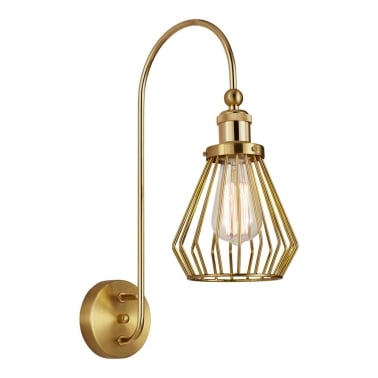 Gaston Industrial Cage Metal Wall Light, Brass