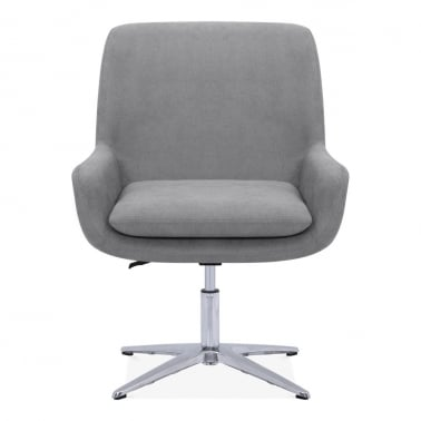 Cromwell Swivel Lounge Chair, Fabric Upholstered, Light Grey