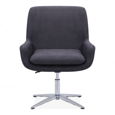 Cromwell Swivel Lounge Chair, Fabric Upholstered, Dark Grey