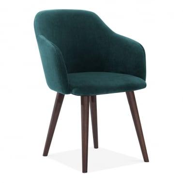Primrose Dining Armchair, Velvet Upholstered, Green