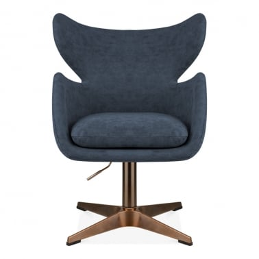 Duchess Swivel Lounge Chair, Faux Leather Upholstered, Vintage Blue