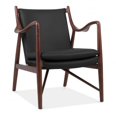 Haven Solid Ash Wood Armchair, Faux Leather Upholstered, Black