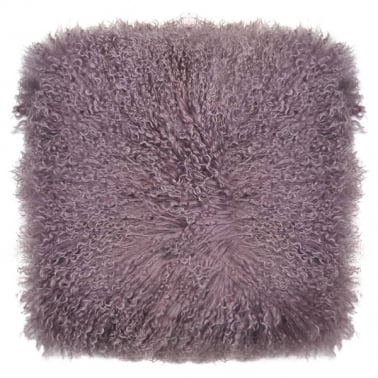 Mongolian Sheepskin Cushion, Heather Purple