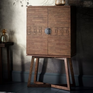 Zephyr Cocktail Cabinet, Solid Mango Wood, Brown