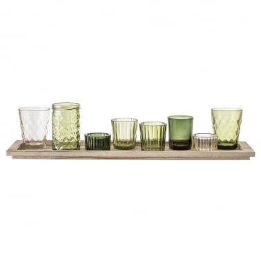 Small Assorted 8 Piece Candle Holder and Vase Set with Wood Tray, Green