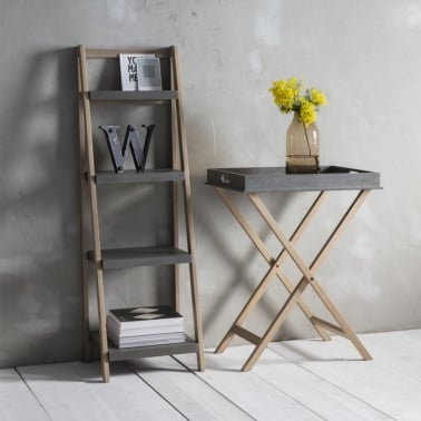 Delu Shelf Unit, Solid Wood, Concrete Effect