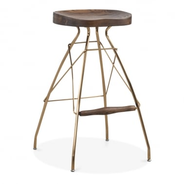 Atlas Metal Bar Stool, Solid Elm Wood, Brass 76cm