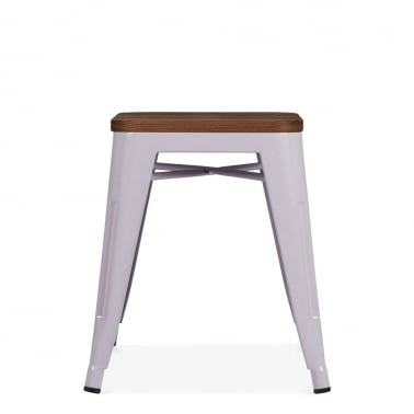 Tolix Style Metal Low Stool with Natural Wood Seat - Pastel Purple 45cm