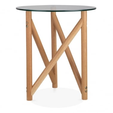 Henrietta Glass Top Side Table, Solid Oak Wood, Natural