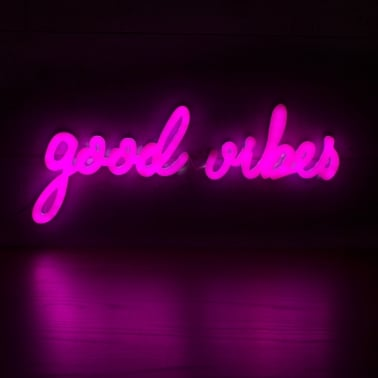 Good Vibes Neon Sign Wall Light, Pink