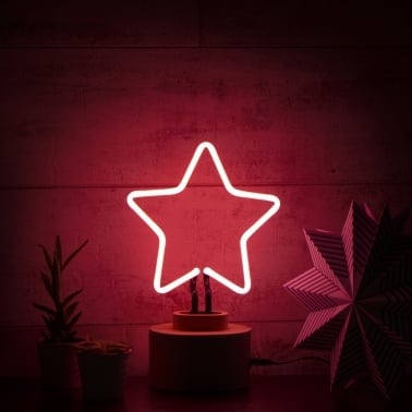 Neon Star Table Lamp, Wood Base, Pink