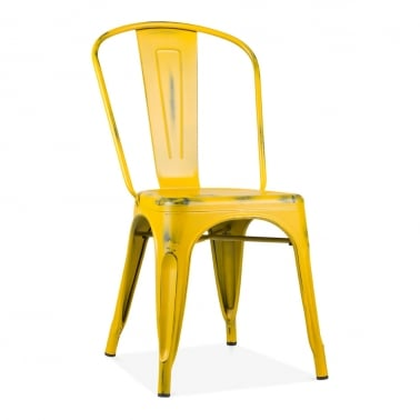 Tolix Style Metal Side Chair, Vintage Yellow