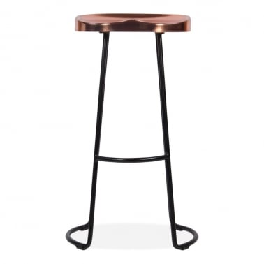 Victoria Metal Bar Stool with Copper Seat, Black 70cm