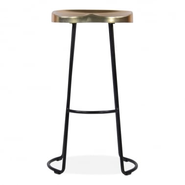 Victoria Metal Bar Stool with Gold Seat, Black 70cm