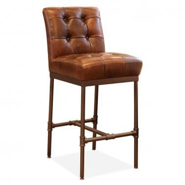 Mya Bar Stool With Backrest, Premium Leather Upholstered, Brown