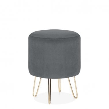 Paloma Round Footstool, Velvet Upholstered, Dark Grey