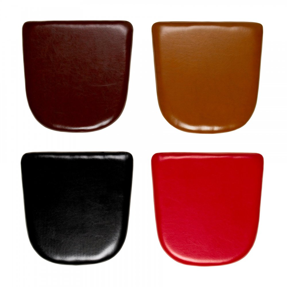 Tan leather seat pads for xavier pauchard chair black for Coussin pour chaise eames