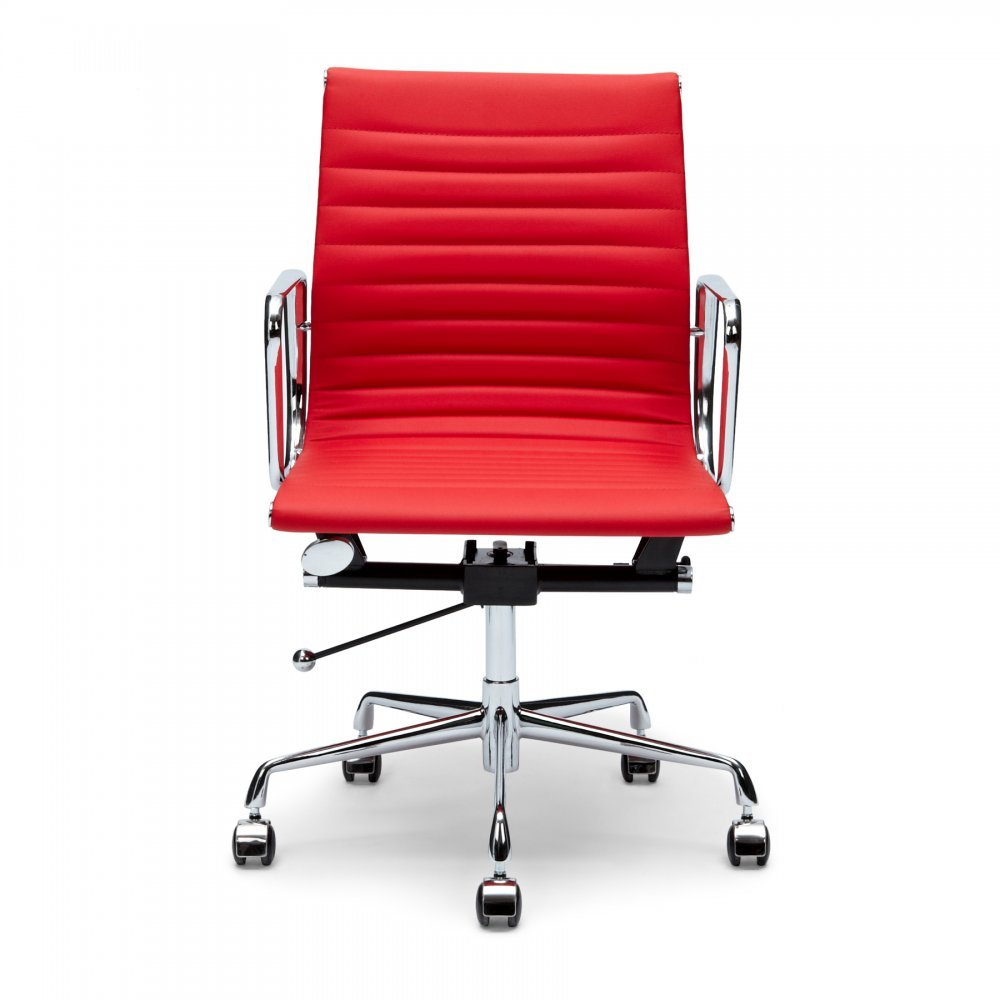 Eames Style Red Ribbed Short Back Office Chair Executive Chair