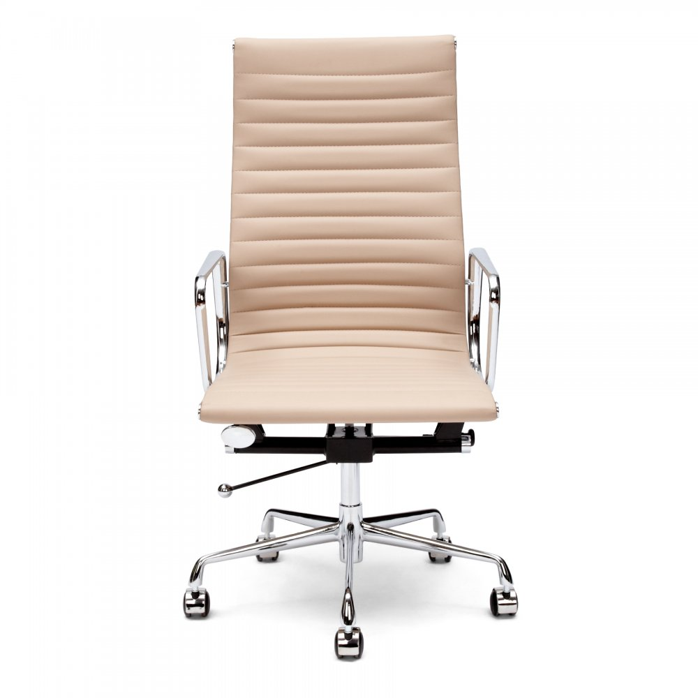 Eames style beige ribbed office chair executive chairs for Cream office chair