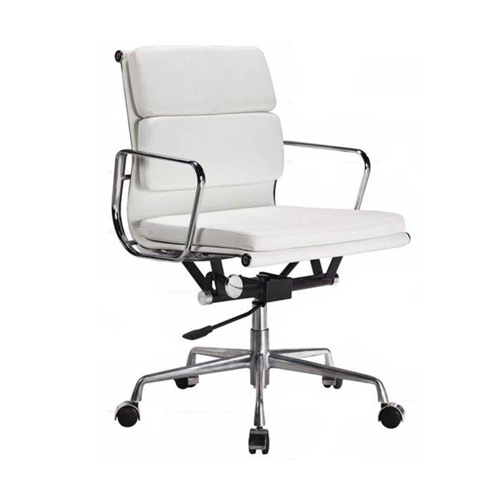 Iconic Designs White Short Back Soft Pad Style Executive Office ChairWhite Short Back Soft Pad Style Executive Office Chair of Eames White Soft Pad Style Executive Office Chair