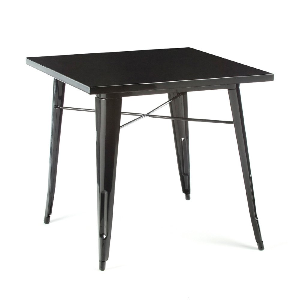 Tolix style metal dining table black cult uk for Table style tolix