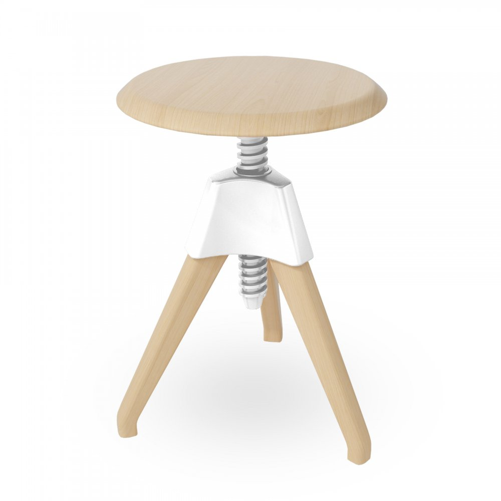 White Wood Adjustable Stool