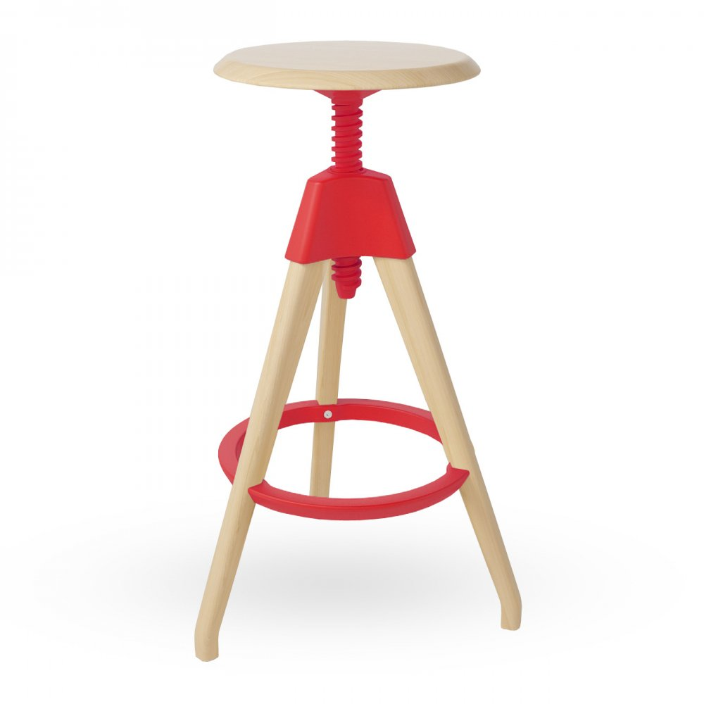 Red Wood High Adjustable Swivel Stool