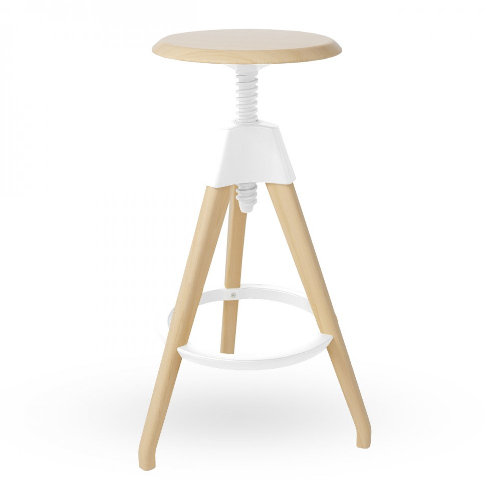 Swivel Stool White Wood High Adjustable Swivel Stool  sc 1 st  Cult Furniture & White Wood Tall adjustable Stool islam-shia.org