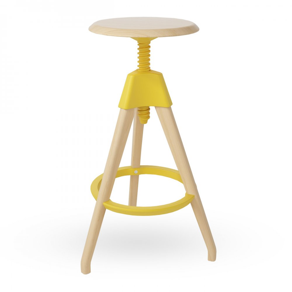 Yellow Wood High Adjustable Stool  sc 1 st  Cult Furniture & Yellow Wood Tall Swivel Stool islam-shia.org