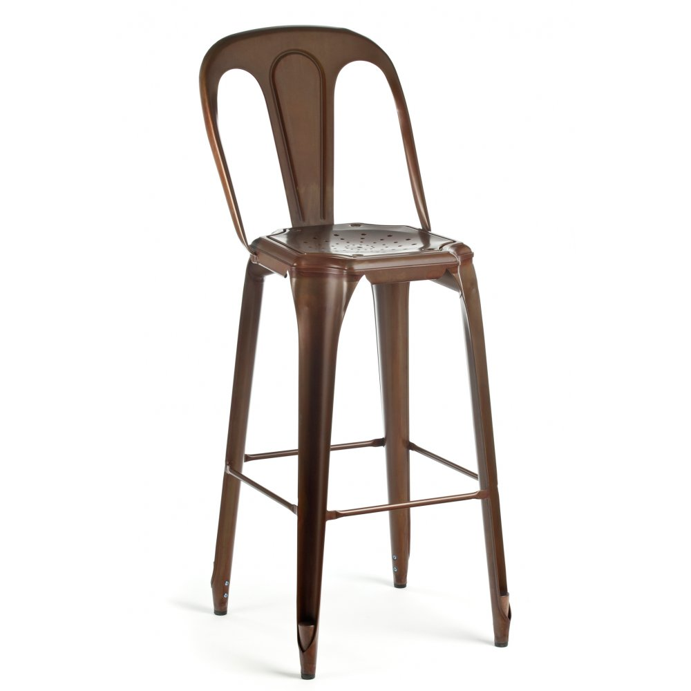 les meubles vintage copper multipl stool with back rest. Black Bedroom Furniture Sets. Home Design Ideas