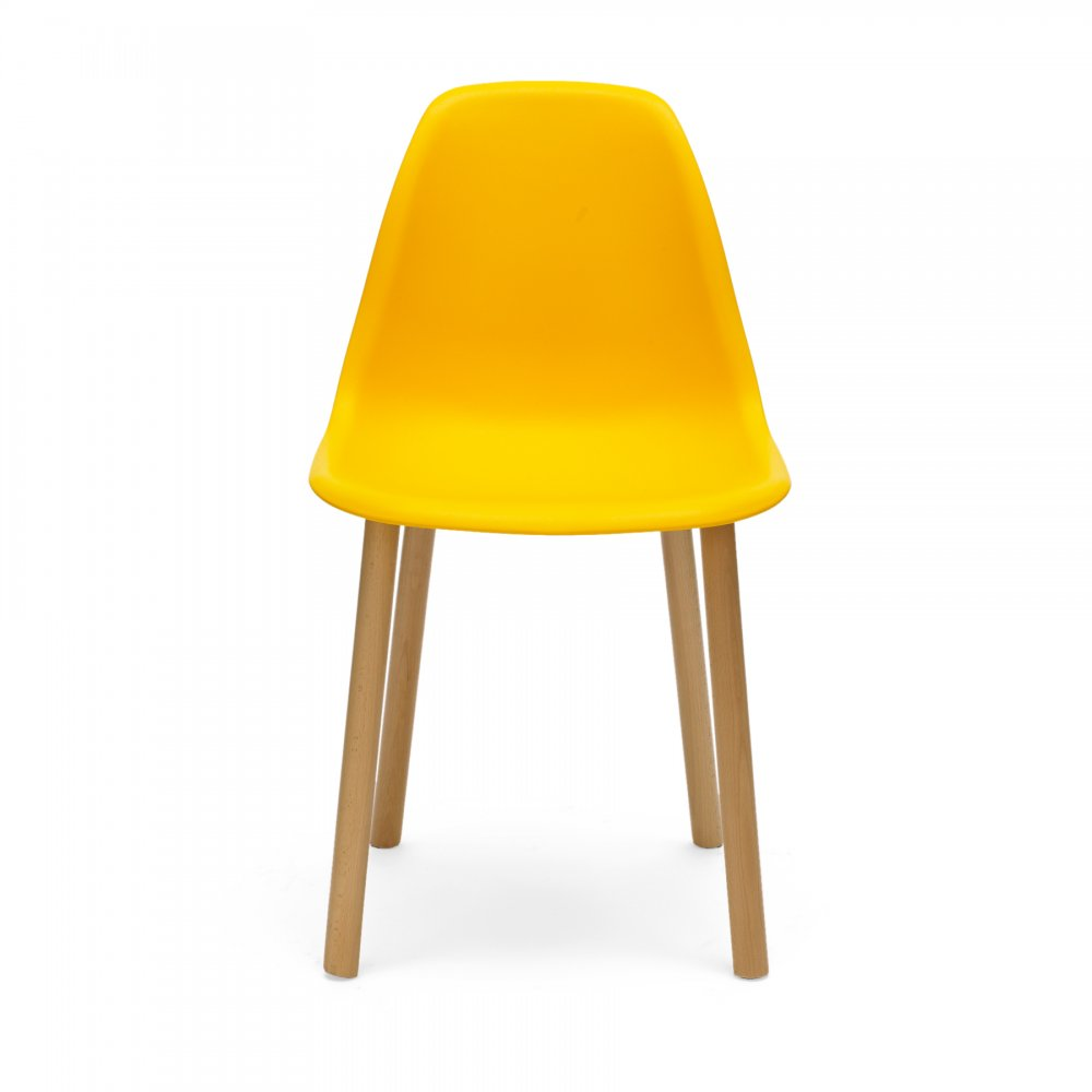 Eames style yellow dining chair for Modern yellow dining chairs