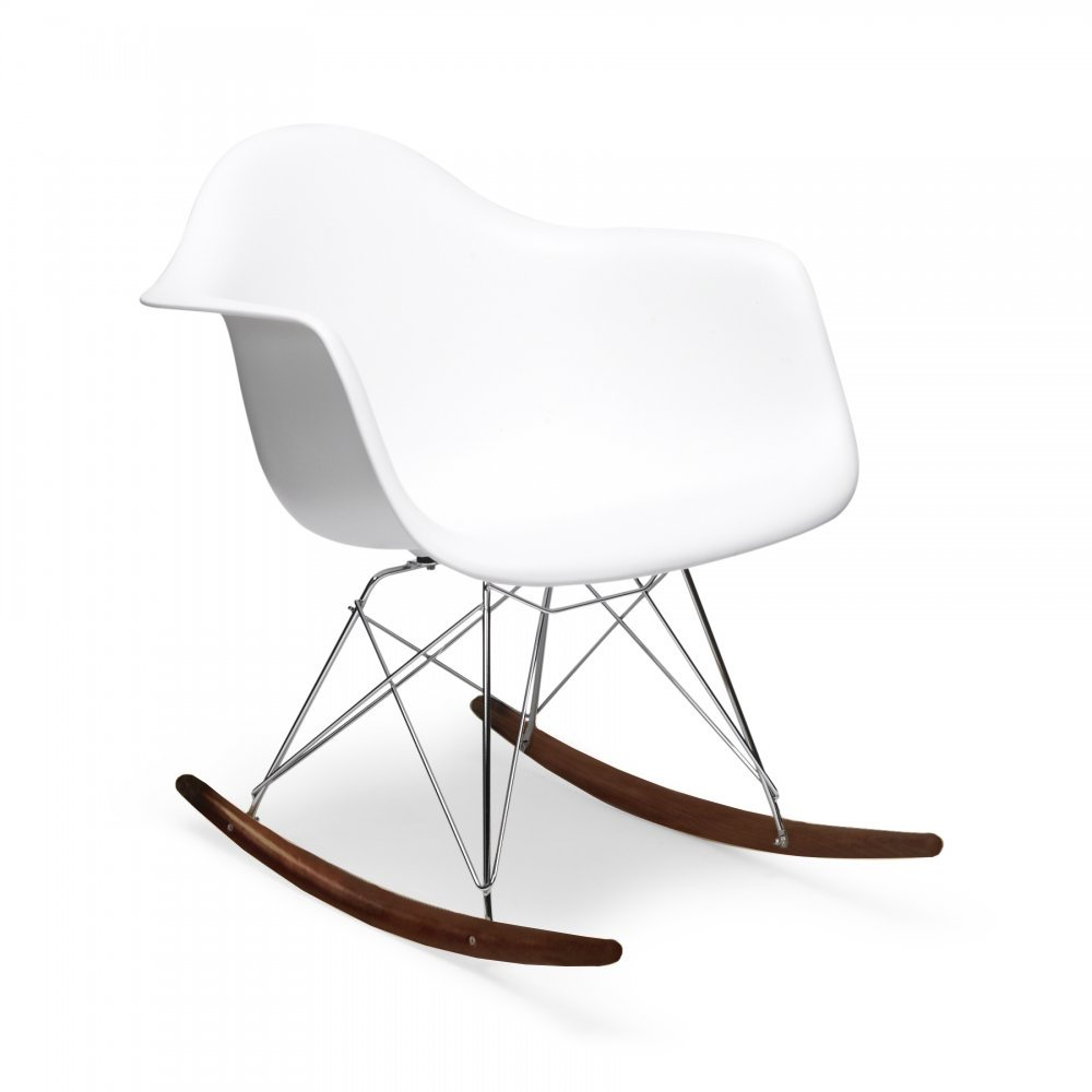 Iconic Designs Style White RAR Style Rocker Chair (Walnut Stained Legs)