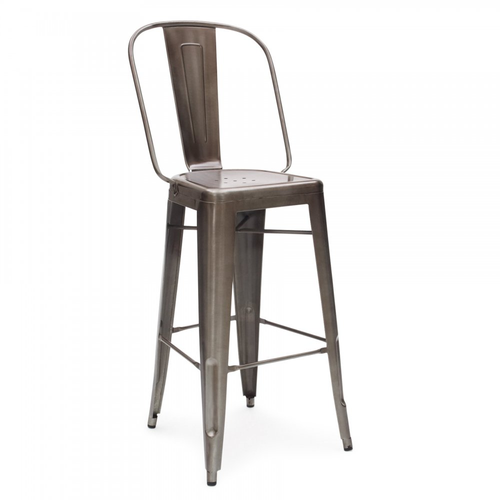gunmetal 65cm tolix style metal bar stool with high back rest cult uk. Black Bedroom Furniture Sets. Home Design Ideas